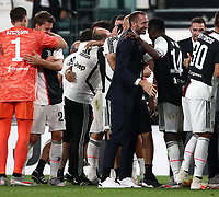 Calcio, Serie A: Juventus - Sampdoria, Turin, Allianz Stadium, July 26, 2020.<br /> Juventus' players celebrate after winning the Italian Serie A ftitle at the end of the football match between Juventus and - Sampdoria at the Allianz stadium in Turin, July 26, 2020.<br /> UPDATE IMAGES PRESS/Isabella Bonotto