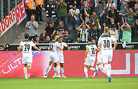 jubilation Alassane PLEA (MG / withte) after his goal to 1: 0, with Florian NEUHAUS (MG) in front of fans, Soccer 1st Bundesliga, 1st matchday, Borussia Monchengladbach (MG) - FC Bayern Munich (M) 1: 1, on August 13th, 2021 in Borussia Monchengladbach / Germany. #DFL regulations prohibit any use of photographs as image sequences and / or quasi-video # Â