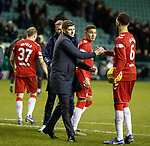 20.12.2019 Hibs v Rangers: Steven Gerrard with his players at full time