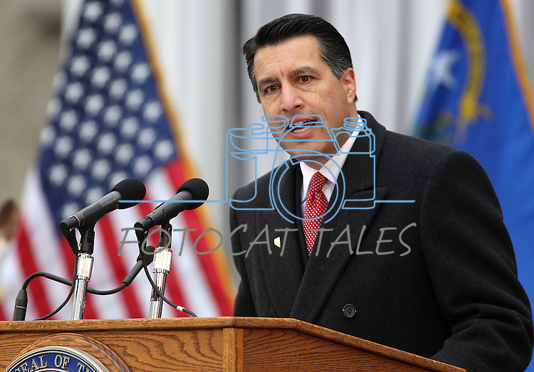 Nevada Gov. Brian Sandoval makes his inaugural address during Monday's inauguration ceremony, Jan. 3, 2011 at the Capitol in Carson City, Nev. <br /> Photo by Cathleen Allison