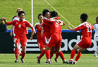 Korea celebrate the goal of Un Hyang Kim..FIFA U17 Women's World Cup Final, USA v Korea DPR, Albany Stadium, Auckland, New Zealand, Sunday 16 November 2008. Photo: Renee McKay/PHOTOSPORT