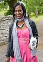 """""""MONA"""" COMMON LAW WIFE OF KENT ADONAI, LEAVES TRAQUAIR KIRK, KIRKHOUSE, AFTER THE MEMORIAL SERVICE FOR LORD COLIN CHRISTOPHER PAGET GLENCONNER"""