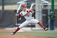Arkansas Razorbacks relief pitcher Bryce Bonnin (4) in action against the Charlotte 49ers at Hayes Stadium on March 21, 2018 in Charlotte, North Carolina.  The 49ers defeated the Razorbacks 6-3.  (Brian Westerholt/Four Seam Images)