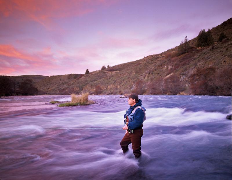 Fly fisherman on Decshutes River, Oregon