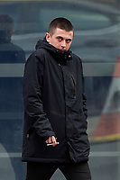 Pictured: Harry Eccles leaving Swansea magistrates Court. Day 02 April 2019<br /> Re: Harry Eccles has appeared before Swansea Magistrates Court after incidents during Swansea City's FA Cup quarter-final defeat to Man City at the Liberty Stadium.<br /> 21-year-old Eccles, from Conwy has been charged with going onto the playing area at a football match, while a 15 and 16-year-old from Swansea have been cautioned in relation to a separate incident.