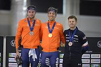 SPEEDSKATING: 16-02-2020, Utah Olympic Oval, ISU World Single Distances Speed Skating Championship, Podium 1500m Men, Thomas Krol (NED), Kjeld Nuis (NED), Joey Mantia (USA), ©photo Martin de Jong