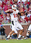 Ball State Cardinals quarterback Keith Wenning (10) in action during the game between the Ball State Cardinals  and the Oklahoma Sooners at the Oklahoma Memorial Stadium in Norman, Oklahoma. OU defeats Ball State 62 to 6.