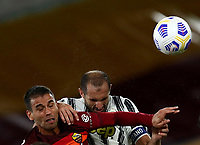 Football, Serie A: AS Roma - Juventus, Olympic stadium, Rome, September 27, 2020. <br /> Roma's Leonardo Spinazzola (l) in action with Juventus' captain Giorgio Chiellini (r) during the Italian Serie A football match between Roma and Juventus at Olympic stadium in Rome, on September 27, 2020. <br /> UPDATE IMAGES PRESS/Isabella Bonotto