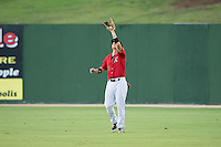 Kannapolis Intimidators center fielder Alex Call (2) catches a fly ball during the game against the West Virginia Power at Kannapolis Intimidators Stadium on August 20, 2016 in Kannapolis, North Carolina.  The Intimidators defeated the Power 4-0.  (Brian Westerholt/Four Seam Images)