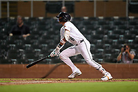 Salt River Rafters Royce Lewis (9), of the Minnesota Twins organization, at bat during an Arizona Fall League game against the Mesa Solar Sox on September 19, 2019 at Salt River Fields at Talking Stick in Scottsdale, Arizona. Salt River defeated Mesa 4-1. (Zachary Lucy/Four Seam Images)