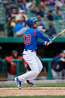 South Bend Cubs first baseman Jhonny Pereda (13) follows through on a swing during a game against the Kane County Cougars on May 3, 2017 at Four Winds Field in South Bend, Indiana.  South Bend defeated Kane County 6-2.  (Mike Janes/Four Seam Images)