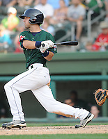 Outfielder Lucas LeBlanc (22) of the Greenville Drive, Class A affiliate of the Boston Red Sox, in a game against the Augusta GreenJackets on April 10, 2011, at Fluor Field at the West End in Greenville, South Carolina. (Tom Priddy / Four Seam Images)