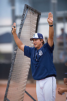 AZL Padres 2 hitting coach Sung Heon Hong (22) during an Arizona League game against the AZL Padres 1 at Peoria Sports Complex on July 14, 2018 in Peoria, Arizona. The AZL Padres 1 defeated the AZL Padres 2 4-0. (Zachary Lucy/Four Seam Images)