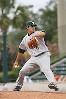 Mark Serrano #6 of the Lynchburg Hillcats pitching during a game against the Myrtle Beach Pelicans at BB&T Coastal Field on May 26, 2010 in Myrtle Beach. Photo by Robert Gurganus/Four Seam Images.