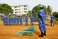 LIBERIA, Monrovia, 04/04/2007..Weapons training exercises at the barracks are a regular occurance and serve to keep the women in good practice. Every woman is responsible for her own weapon. Up till now there has been no need to deploy lethal force...© Aubrey Wade. All rights reserved.