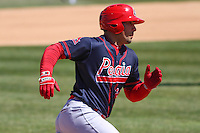 Peoria Chiefs first baseman Alex De Leon (34) rounds third during a game against the Wisconsin Timber Rattlers on April 25th, 2015 at Fox Cities Stadium in Appleton, Wisconsin.  Wisconsin defeated Peoria 2-0.  (Brad Krause/Four Seam Images)