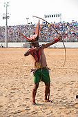 A Javae archer shoots during the International Indigenous Games, in the city of Palmas, Tocantins State, Brazil. Photo © Sue Cunningham, pictures@scphotographic.com 31st October 2015