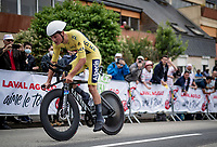 yellow jersey / GC leader Mathieu Van der Poel (NED/Alpecin-Fenix)<br /> <br /> Stage 5 (ITT): Time Trial from Changé to Laval Espace Mayenne (27.2km)<br /> 108th Tour de France 2021 (2.UWT)<br /> <br /> ©kramon