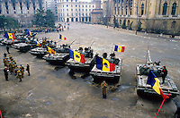 ROMANIA, Revolution Square, Bucharest, 25.12.1989.Aggressive tanks and the National Museum hit by shells..© Andrei Pandele / EST&OST