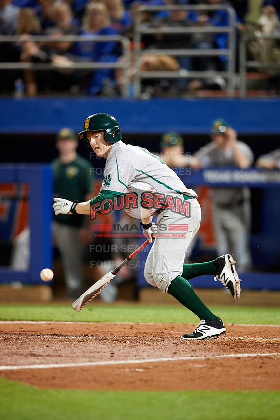 Siena Saints right fielder Matt Hamel (6) lays down a bunt during a game against the Florida Gators on February 16, 2018 at Alfred A. McKethan Stadium in Gainesville, Florida.  Florida defeated Siena 7-1.  (Mike Janes/Four Seam Images)