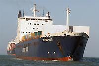 - ro-ro ship enter in Livorno harbour....- nave ro-ro entra nel porto di Livorno