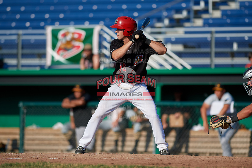 Batavia Muckdogs designated hitter Matt Brooks (15) at bat during a game against the West Virginia Black Bears on July 1, 2018 at Dwyer Stadium in Batavia, New York.  Batavia defeated West Virginia 8-4.  (Mike Janes/Four Seam Images)