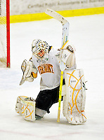 5 February 2011: University of Vermont Catamount goaltender Rob Madore, a Junior from Pittsburgh, PA expresses his emotions as the game against the Providence College Friars ends at Gutterson Fieldhouse in Burlington, Vermont. Madore made 31 saves for Vermont, moving the team ahead of Providence in league standings as the Catamounts defeated the Friars 7-1 in the second game of their weekend series. Mandatory Credit: Ed Wolfstein Photo