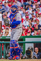 6 April 2015: New York Mets catcher Travis d'Arnaud in action during the Season Opening Game against the Washington Nationals at Nationals Park in Washington, DC. The Mets rallied to defeat the Nationals 3-1 in their first meeting of the 2015 MLB season. Mandatory Credit: Ed Wolfstein Photo *** RAW (NEF) Image File Available ***