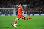 UEFA EURO 2016 Qualifier match between Wales and Andorra at Cardiff City Stadium in Cardiff : <br /> Ben Davies kicks the ball for Wales in the first half.