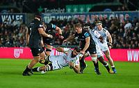 8th October 2021;  Swansea.com Stadium, Swansea, Wales; United Rugby Championship, Ospreys versus Sharks; Ruben van Heerden of Cell C Sharks is tackled by Alun Wyn Jones of Ospreys