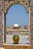 Tunisia.  Tunis Medina.  Rooftop View of Cupola of Zeitouna Mosque.
