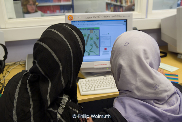 Computer suite at Westminster City Council's Church Street library, which offers a specialist Bangladeshi service.