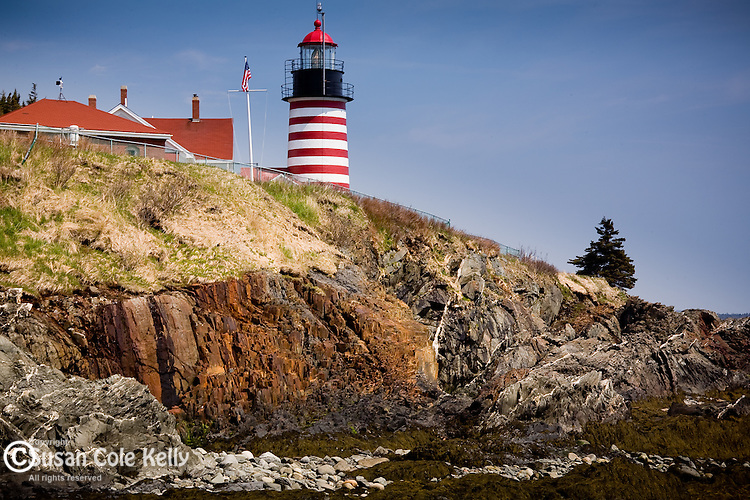 West Quoddy Head Light guards the rocky coast of Maine at Quoddy Head State Park, Lubec, ME