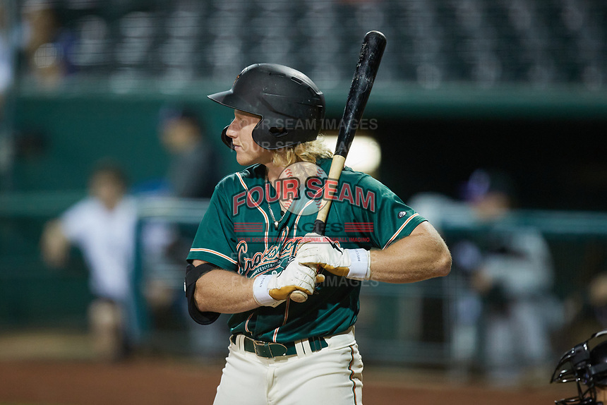 Aaron Shackelford (44) of the Greensboro Grasshoppers at bat against the Winston-Salem Dash at First National Bank Field on June 3, 2021 in Greensboro, North Carolina. (Brian Westerholt/Four Seam Images)