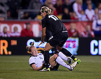 Becky Sauerbrunn, Hannah Wilkinson. The USWNT tied New Zealand, 1-1, at an international friendly at Crew Stadium in Columbus, OH.