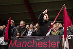 © Joel Goodman - 07973 332324 . 14/11/2015 . Manchester , UK . FC United fans . FC United host Gainsborough Trinity in the National League North at Broadhurst Park . NB requested changing room access three times and was denied three times . Photo credit : Joel Goodman