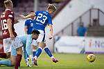 Arbroath v St Johnstone…21.07.21  Gayfield Park<br />Cammy Ballantyne scores to make it 4-0<br />Picture by Graeme Hart.<br />Copyright Perthshire Picture Agency<br />Tel: 01738 623350  Mobile: 07990 594431