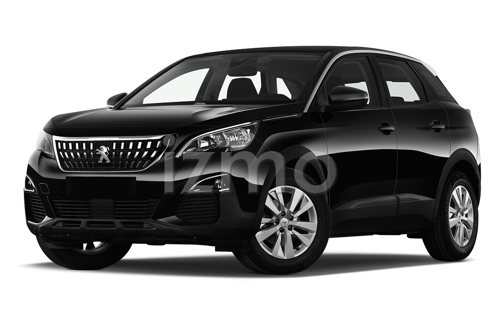 Stock pictures of low aggressive front three quarter view of a 2018 Peugeot 3008 Active 5 Door SUV