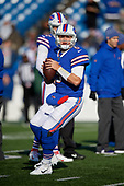 Buffalo Bills quarterback Matt Barkley (5) during pre-game warmups before an NFL football game against the New York Jets, Sunday, December 9, 2018, in Orchard Park, N.Y.  (Mike Janes Photography)