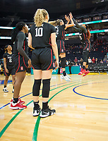 SAN FRANCISCO, CA - NOVEMBER 09: San Francisco, CA - November 9, 2019: DiJonai Carrington, Lexie Hull at the Chase Center. The Stanford Cardinal defeated the USF Dons 97-71. during a game between University of San Francisco and Stanford Basketball W at Chase Center on November 09, 2019 in San Francisco, California.