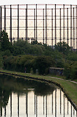 Gas holder reflected in the Grand Union canal, West London