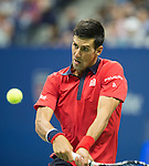 Novak Djokovic (SRB) takes the first set from Roberto Bautista Agut (ESP) 6-3 at the US Open in Flushing, NY on September 6, 2015.