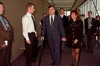 Montreal (Qc) CANADA - 1995 File Photo - April 1995 - Bloc Quebecois convention, Lucien Bouchard (L) and wife Audrey Best