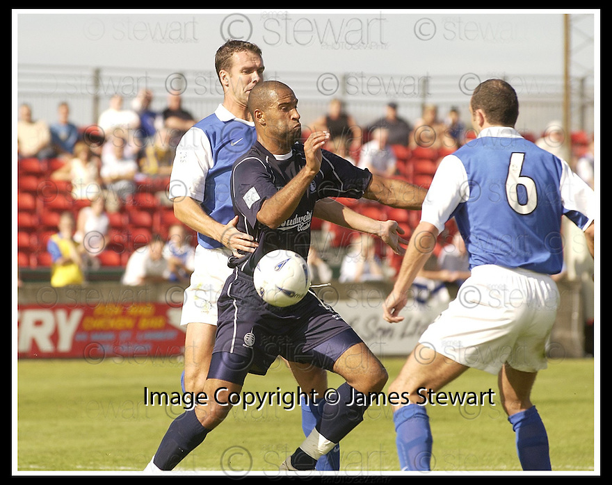 23/08/2003                   Copyright Pic : James Stewart.File Name : stewart-falkirk v qots 04.BRIAN REID CHALLENGES JASON LEE FROM THE REAR AS JAMES THOMSON (6) LOOKS ON......James Stewart Photo Agency, 19 Carronlea Drive, Falkirk. FK2 8DN      Vat Reg No. 607 6932 25.Office     : +44 (0)1324 570906     .Mobile  : +44 (0)7721 416997.Fax         :  +44 (0)1324 570906.E-mail  :  jim@jspa.co.uk.If you require further information then contact Jim Stewart on any of the numbers above.........