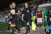 The teams enter the pitch ahead of The Checkatrade Trophy match between Northampton Town and Wycombe Wanderers at Sixfields Stadium, Northampton, England on 30 August 2016. Photo by David Horn / PRiME Media Images.