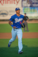 Alex Santana (17) of the Ogden Raptors jogs off the field between innings against the Helena Brewers in Pioneer League action at Lindquist Field on August 19, 2015 in Ogden, Utah. Ogden defeated Helena 4-2.  (Stephen Smith/Four Seam Images)