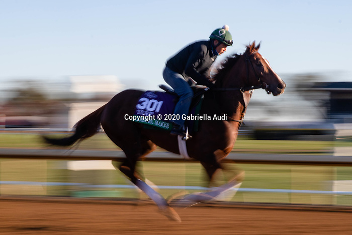 November 4, 2020: Channel Maker, trained by trainer William I. Mott, exercises in preparation for the Breeders' Cup Turf at Keeneland Racetrack in Lexington, Kentucky on November 4, 2020. Gabriella Audi/Eclipse Sportswire/Breeder's Cup/CSM