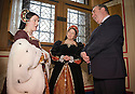 :: FIRST MINISTER ALEX SALMOND IS GREATED BY MARY OF GUISE (LAURA TINCH), WIFE OF KING JAMES V, AND LADY FLEMING (MAIRI GIBSON) AS HE VISITS STIRLING CASTLE TO ANNOUNCE DETAILS OF THE RENAISSANCE ROYAL PALACE OPENING EVENT ::