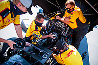 Aug 8, 2020; Clermont, Indiana, USA; Crew members work on the blower bully for the engine of NHRA funny car driver J.R. Todd during qualifying for the Indy Nationals at Lucas Oil Raceway. Mandatory Credit: Mark J. Rebilas-USA TODAY Sports