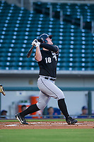 AZL White Sox left fielder Alex Destino (18) follows through on his swing against the AZL Cubs on August 13, 2017 at Sloan Park in Mesa, Arizona. AZL White Sox defeated the AZL Cubs 7-4. (Zachary Lucy/Four Seam Images)